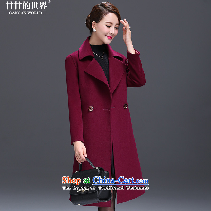Gangan world gross jacket female long? 2015 autumn and winter new middle-aged female replace replace larger then mother coat rose purple燲XL