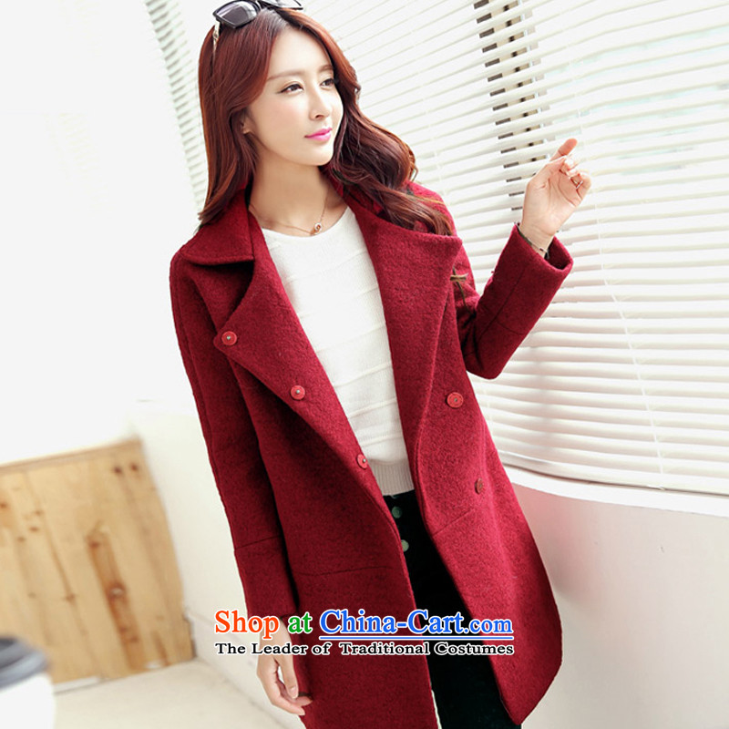 The Korean version of the stylish pure color, wine red cloak gross?S