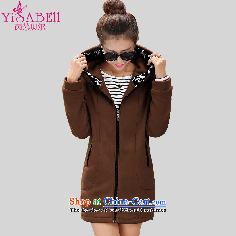 Athena Chu Isabel ad to xl ladies casual clothing of 200 mm in the catty thick sister long sleeves and lint-free cloth gross thick coat cardigan牋3XL爎ecommendations 145-160 1168 brown coal