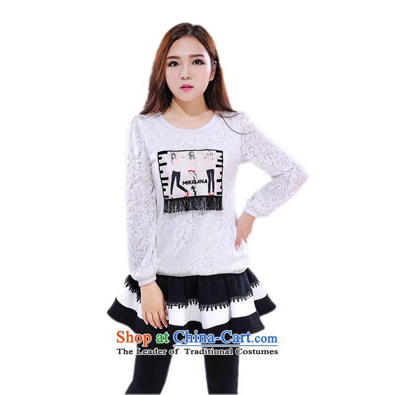 C.o.d. thick Mei larger fall to thick plus Yi-XL T-shirt with round collar casual shirt, forming the lace shirt, forming the basis of the movement of the Netherlands wind shirt white�L燼pproximately 150-165╟atty