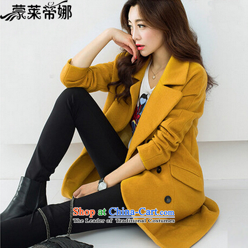 The 2015 Dili Blair Monrovia autumn and winter coats gross new Korean women? boxed loose in a thick long hair? jacket female turmeric yellow 829L