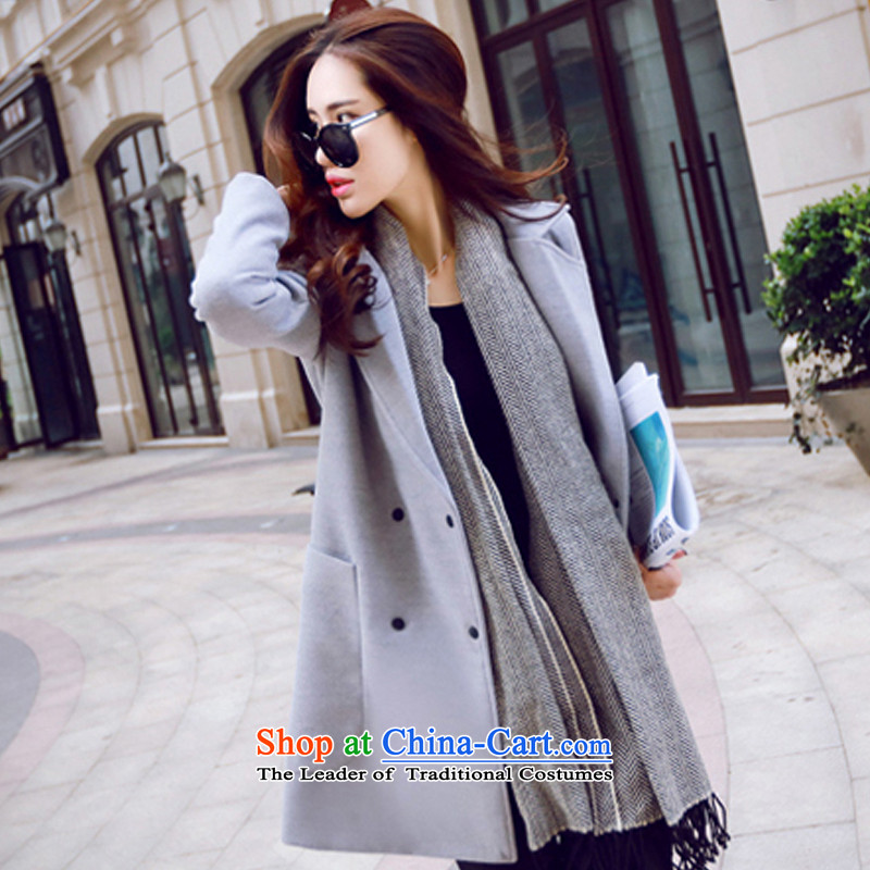 Pure color minimalist look gray coat? gross燲L