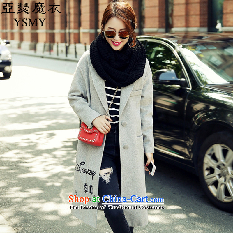Arthur magic yi 2015 autumn and winter coats gross new women's Korea? version lovely patterns in the long hair? jacket women Sau San Gray L