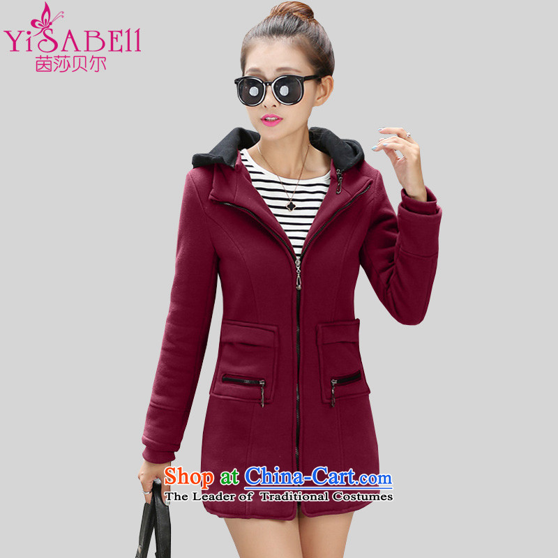 Athena Chu Isabel to increase women's code, in the winter of 2015, new cap sports and leisure sweater jacket plus extra thick wool woolen sweater sweater 1169 wine red3XLrecommendations 145-160 catty