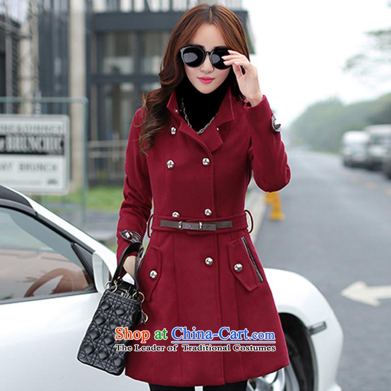 Sau San Solid Color Korea temperament version? coats wine redL