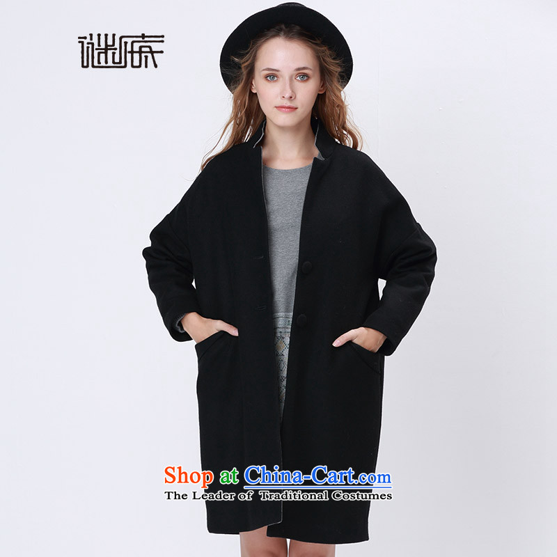 Mystery of the 2015 Winter new products to the British retro-wide large wool coat in gross? Long 5DDD0821 _H09_ black M