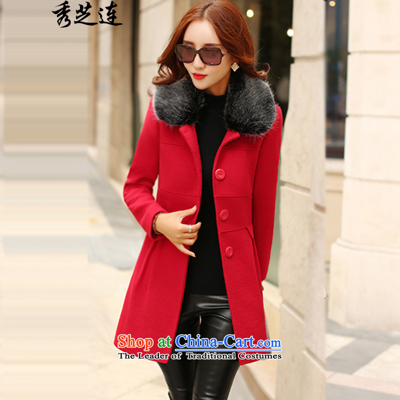 Soo-ji-?won by 2015 Autumn new product version of the girl who is decorated in coats long coats of female 685? RED?M