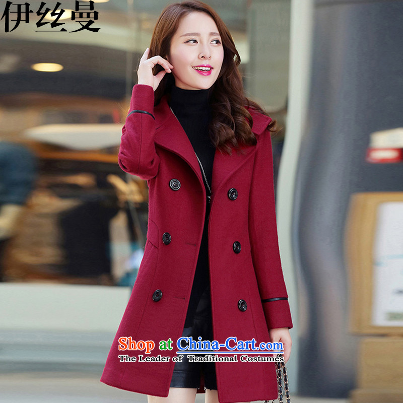 El Wire Cayman�15 autumn and winter women in new long MM to xl double-coats BH1231 gross? wine red燲XL
