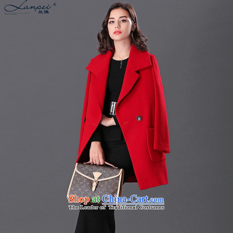 Ho Pui 2015 in New Women's Long cloak? female suit coats gross washable wool a wool coat large red聽L
