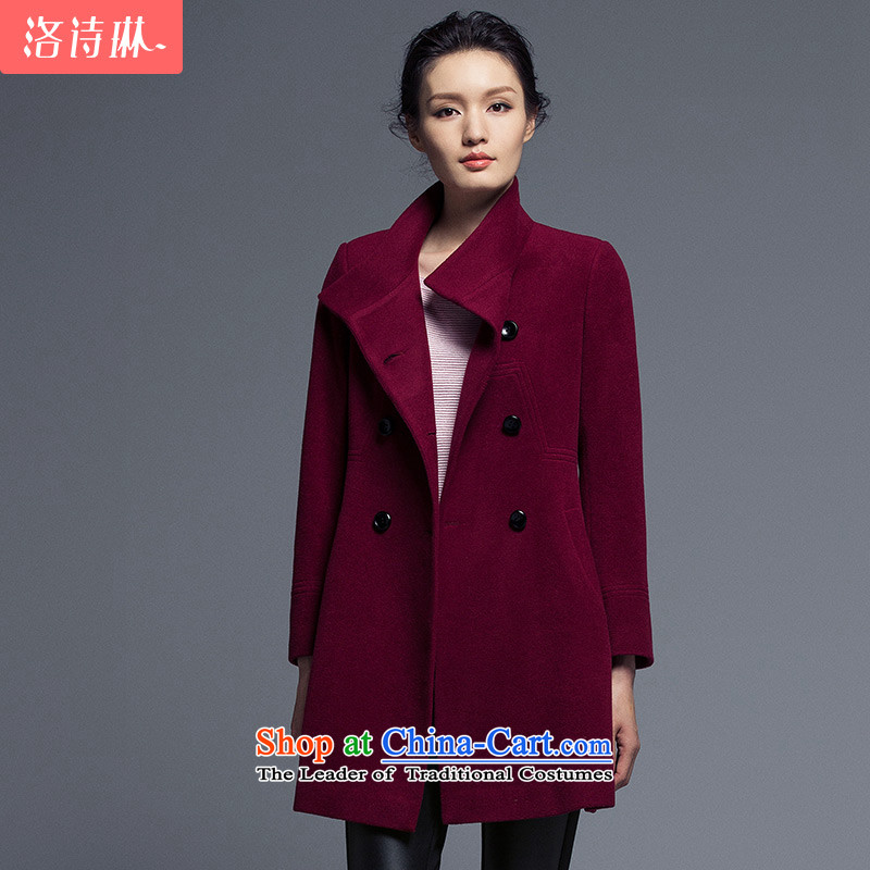 The poem Lin 2015 LUXLEAD winter clothing new products long-sleeved collar double-type A Long Foutune of wine red cloak? XL