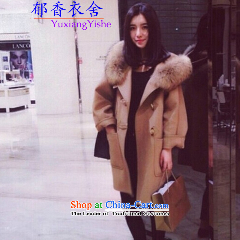 Yu Xiang Yi premises 201 nuclear sub gross collar cap color and snap the horns woolen coat gross and female color jacket?聽XL