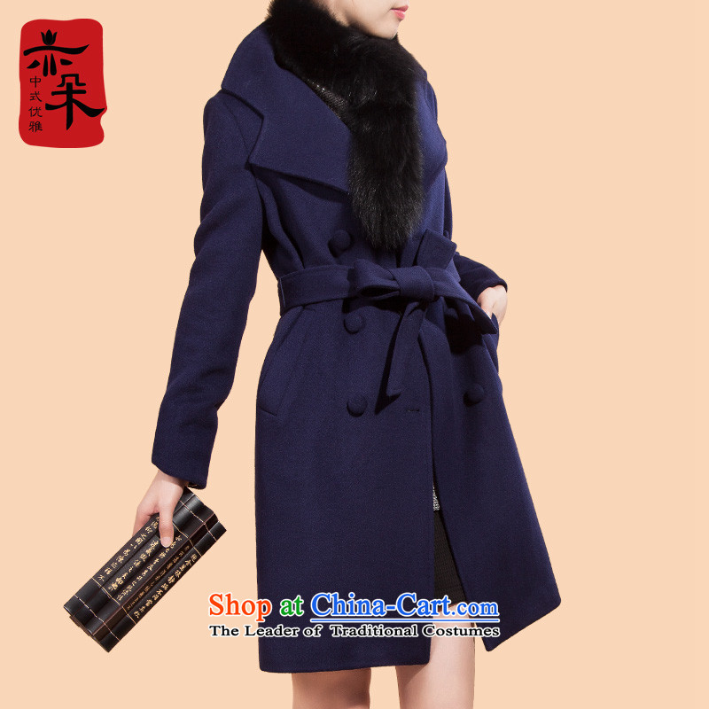 The new 2015 Sau San Mao jacket girl in long? high-end a wool coat larger autumn and winter coats girl marries wool? blue?L