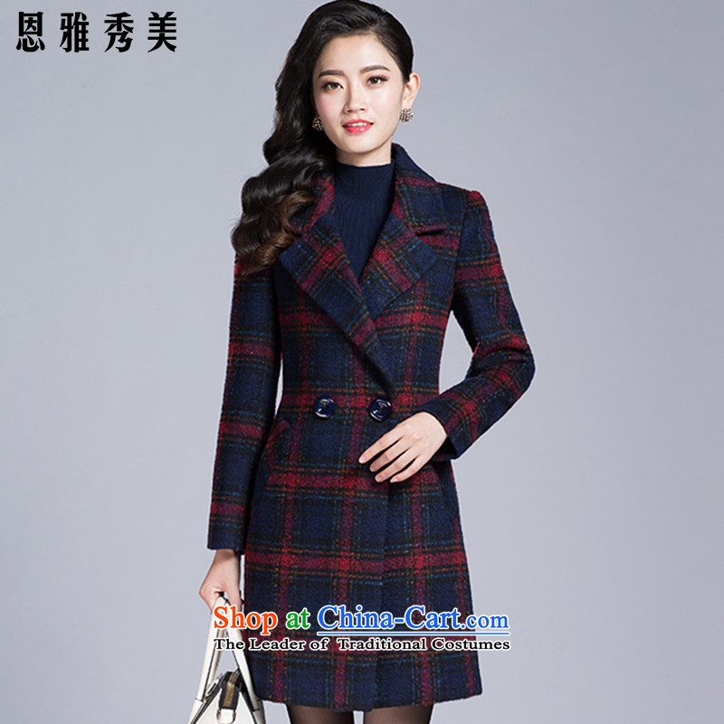 Eun-Ya Xiu 2015 autumn and winter new stylish elegance in women's long jacket, latticed long-sleeved gross 1112_ coats of? red XL