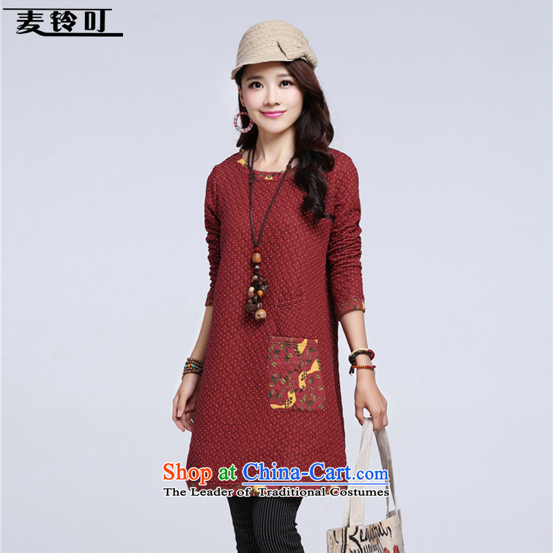 Mr ring bites 2015 autumn and winter new Korean version of large long-sleeved blouses and code in thick long skirt 1269 wine red?XXL