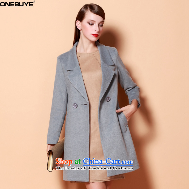 Europe and the atmosphere of the Sau San video ONEBUYE thin solid-colored collars in long double-long-sleeved jacket coat? female gross gray S
