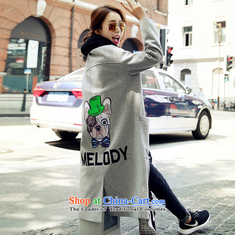 Arthur magic yi?2015 autumn and winter coats gross new women's Korea? version lovely patterns in the long hair? jacket women Sau San Gray?L