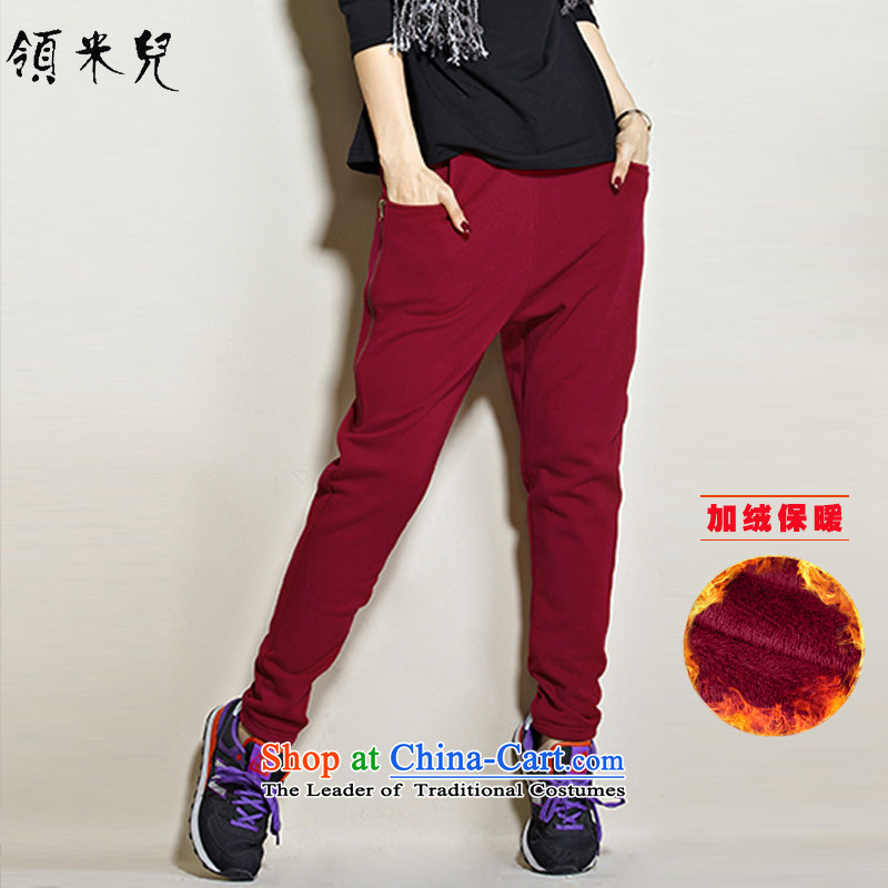 For M-Large 2015 Fall_Winter Collections for women to new xl very casual stylish plus extra thick Harun trousers Wool Pants Y10533XL wine red