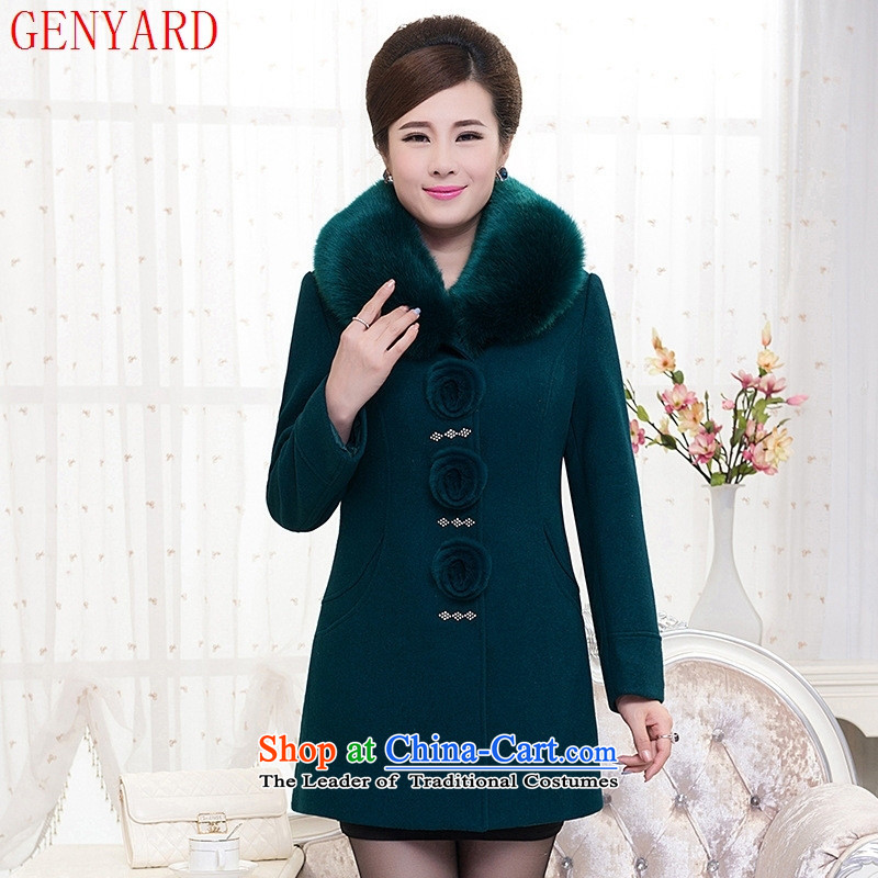 Genyard new autumn and winter in older women's gross middle-aged moms load jacket?   in the stylish long a wool coat blue 5XL
