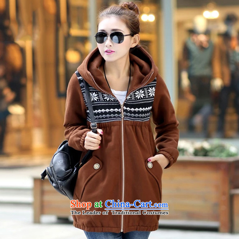 Rui poem M 2015 autumn and winter new Korean version of large numbers of women in the lint-free, long thick sweater girl relaxd casual jacket with cap movement to increase the burden of the Coffee�L_ 200 is suitable for 150around 922.747_