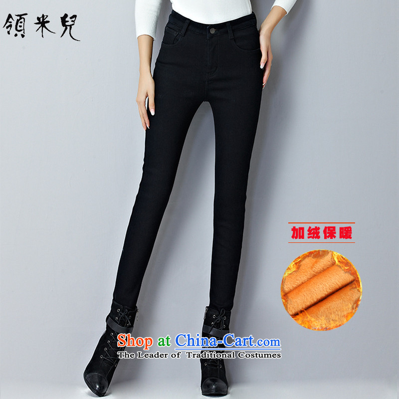For M-燣arge 2015 Fall_Winter Collections for women to new xl stylish Sau San plus jeans pants Y1349 lint-free thick black�L
