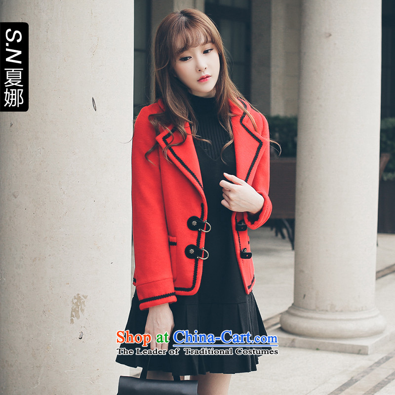 _Deposit of 2015 New winter- small-wind-in design information about leather jacket?254301057?red?XS