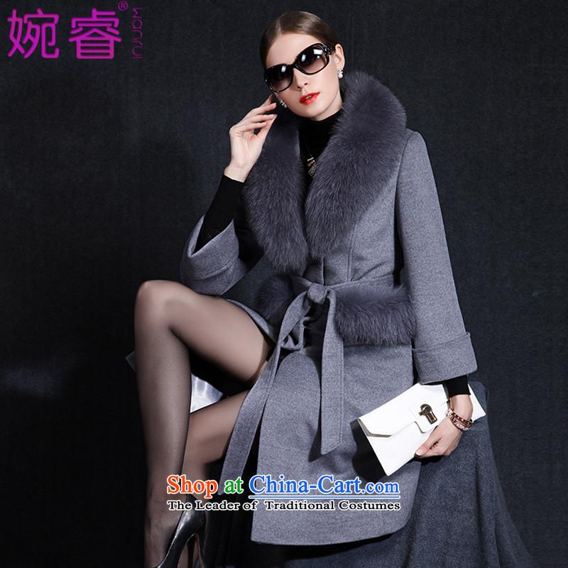Yuen-core women?2015 winter clothing new stylish Fox for long temperament, Gross Gross?? coats gray jacket female?L