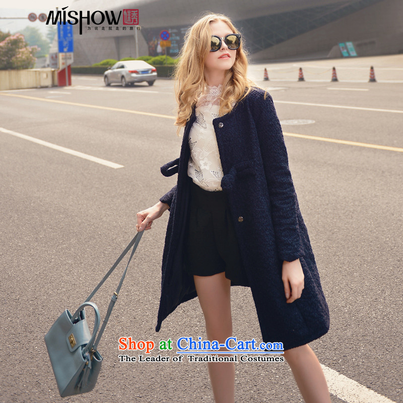 Use Show燦ew Winter 2015 round-neck collar single row detained a wool coat stylish Sau San? Women's jacket gross dark blue燣