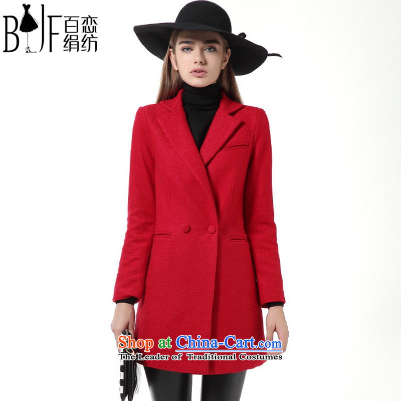 Hundreds of land silk woven 2015 autumn and winter new women's temperament wool long coats that? a jacket BL801203 Sau San big red - the cotton,?L