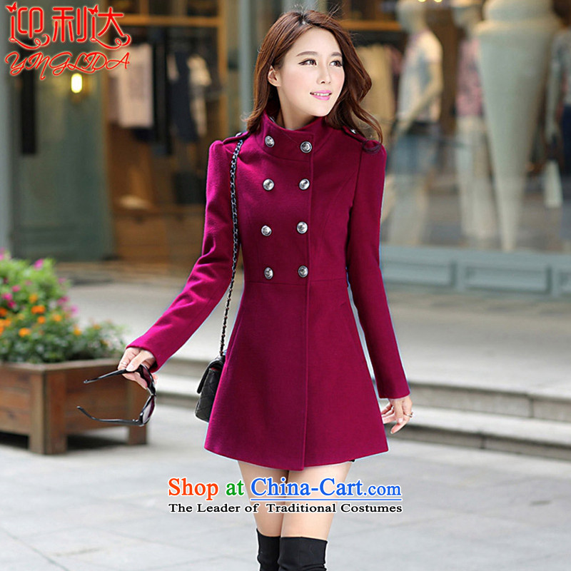 Welcome to the 2015 autumn and winter new Korean Sau San large thin in the video long a wool coat jacket wine red M