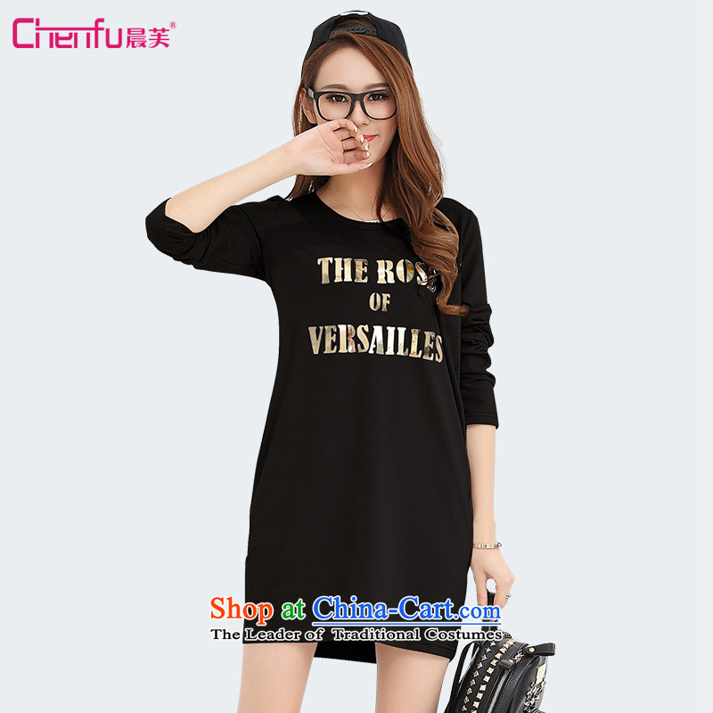 Morning to 2015 to increase the number of women with thick mm autumn and winter new stylish stamp hot Sau San long-sleeved shirt T-shirt, forming the graphics thin black skirt the lint-free4XL_ recommendations 165-180 catties_