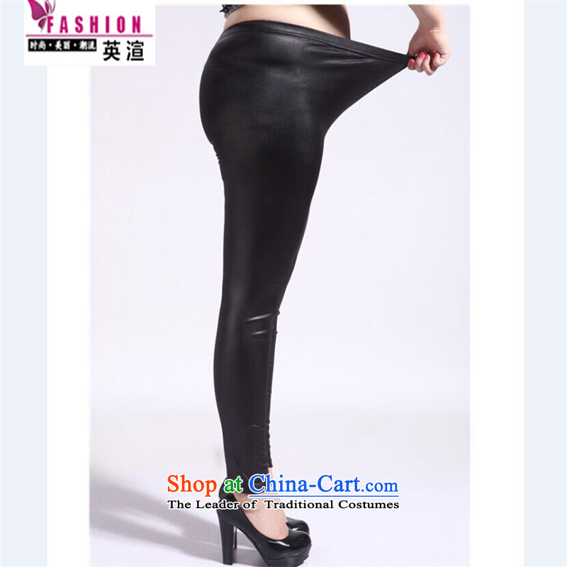 The British New large number of forming the trousers in more aggressive to xl thick mm video thin not lint-free Imitated leather leather pants 200 catties leather pants thick plus black plate, lint-free video thin XXXL