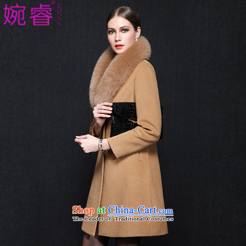 Yuen-core women�15 winter clothing new stylish Fox for video temperament thin hair long-sleeved jacket girl about what gross coats and color燣