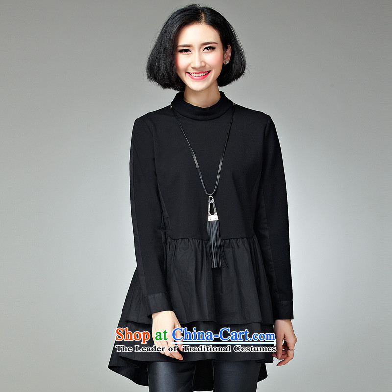 Large 2015 Women's winter clothing new new clothes in greater dignity long thick mm sister loose video thin, 200 catties autumn boxed long-sleeved black skirt?XXXXL recommendations 165-185 catty