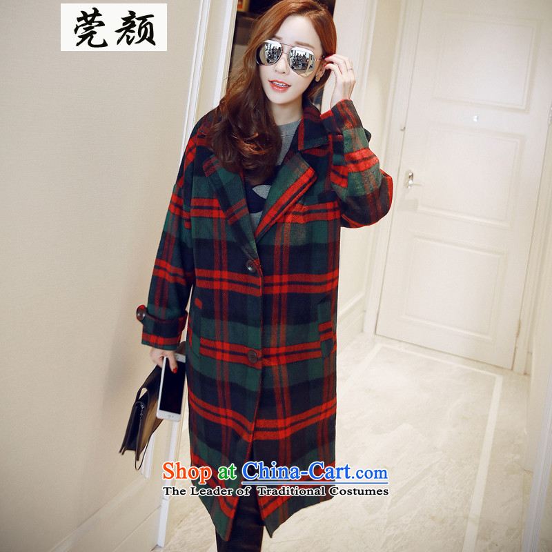 2015 Korean deviation of England retro latticed long single row detained wool female? loose coat picture color燬