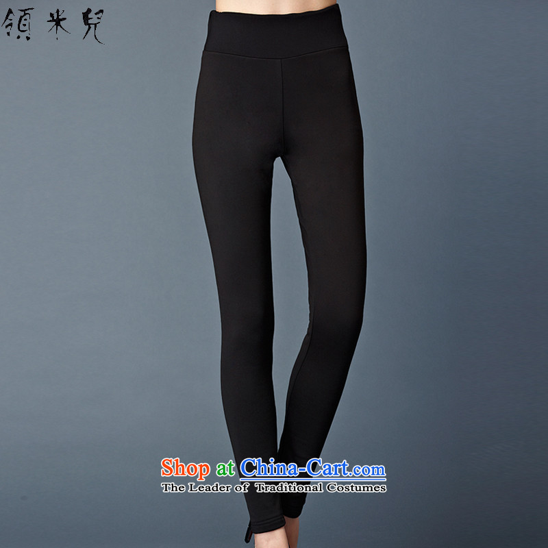 For M-Large Women 2015 Fall_Winter Collections new thick mm video plus thin lint-free warm forming the sleek and versatile trousers castor W7012 black聽3XL trousers