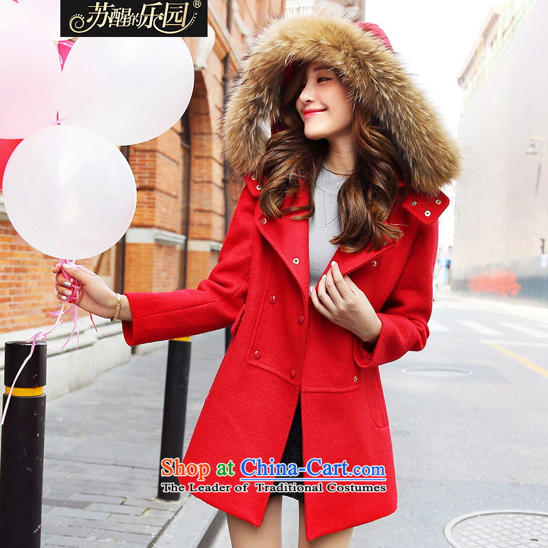Park woke up to 2015 winter clothing new Korean fashion long-sleeved nagymaros for Sau San? coats and women?s Red Jacket