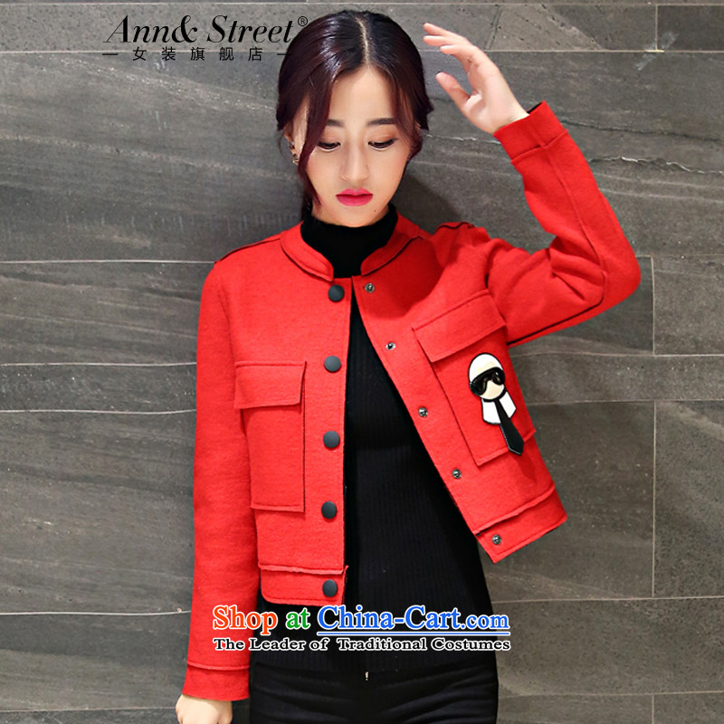 Anne Road 2015 new Korean style of autumn and winter round-neck collar long-sleeved Sau San cartoon characters gross jacket female Red? M