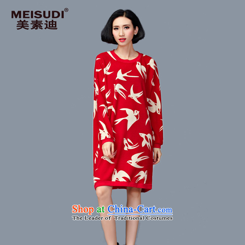 2015 Autumn and Winter Korea MEISUDI version of large numbers of ladies fashionable individual stamp loose wild video thin solid fat mm long-sleeved dresses red are code _loose_