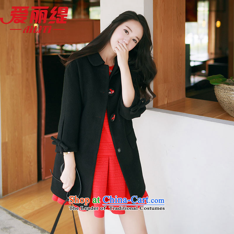 Christy Love 2015 autumn and winter new products Korean lapel bow tie gross? graphics in thin long jacket, a black L is expected female coats issued on 22 November