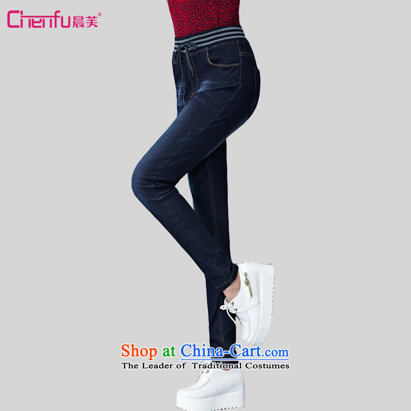 Morning to 2015 autumn and winter new Western Wind jeans larger female plus extra thick elastic castor trousers Wool Pants thick MM pencil dark blue trousers 5XL_ recommendations 180-200 catties_