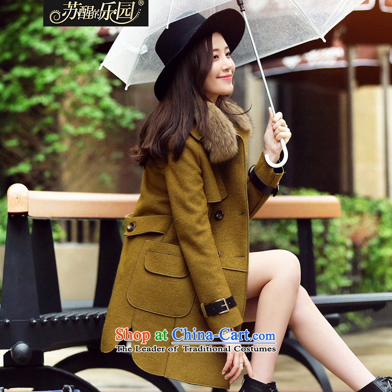 Park woke up to 2015 winter clothing New Korea long-sleeved pullover, long-Nagymaros collar jacket coat? female yellow green L