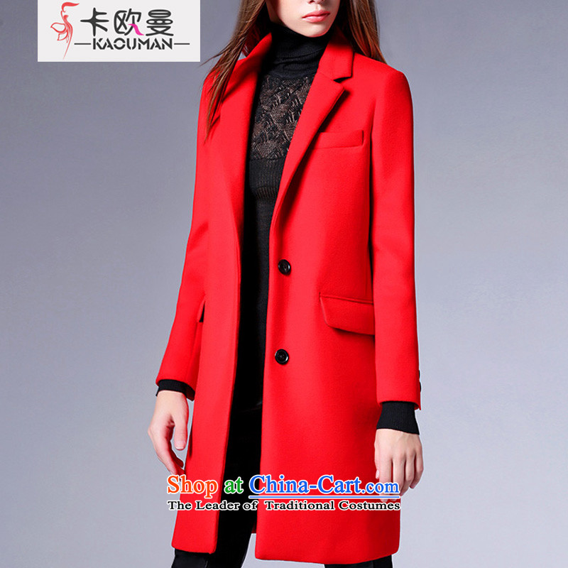 In�15, the Cayman autumn and winter version won warm lapel long-sleeved wool coat and the European wind in small site incense long single row clip hair? t-shirt jacket red燬