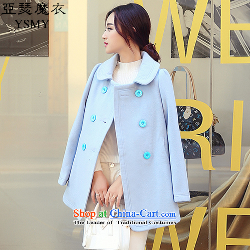Arthur magic yi 2015 Fall/Winter Collections new coats female Korea gross? Edition small Heung-double-Sau San? female blue jacket gross S