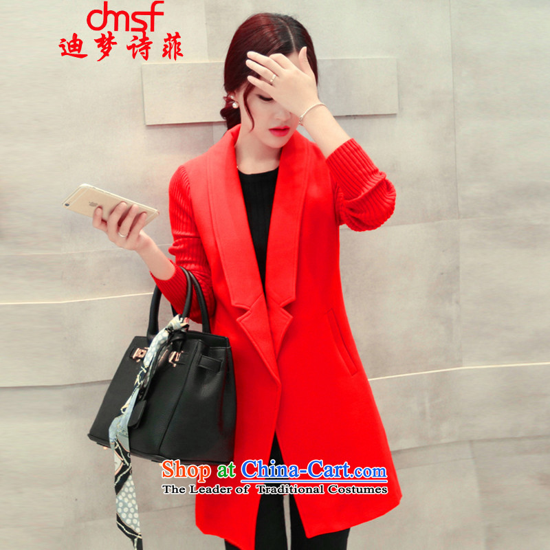 The achievement of poetry, 2015 autumn and winter new women's Korea version in the video thin long Sau San, Western business suits coats a knitting cuff gross? jacket female red windbreaker M