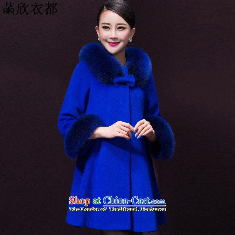 On the basis of Yan Yi are 2015 Fall_Winter Collections Of new women's Korean fashion, long cloak? female F2603 coats gross XXXXL blue