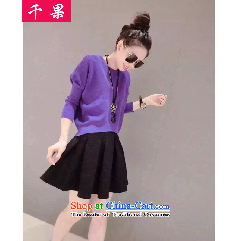 Thousands of autumn and winter fruit new to increase women's code thick mm knitted dresses Kit 200 catties thick sister video thin coat body skirt kit reaches 57.88 purple 5XL175-215 around 922.747