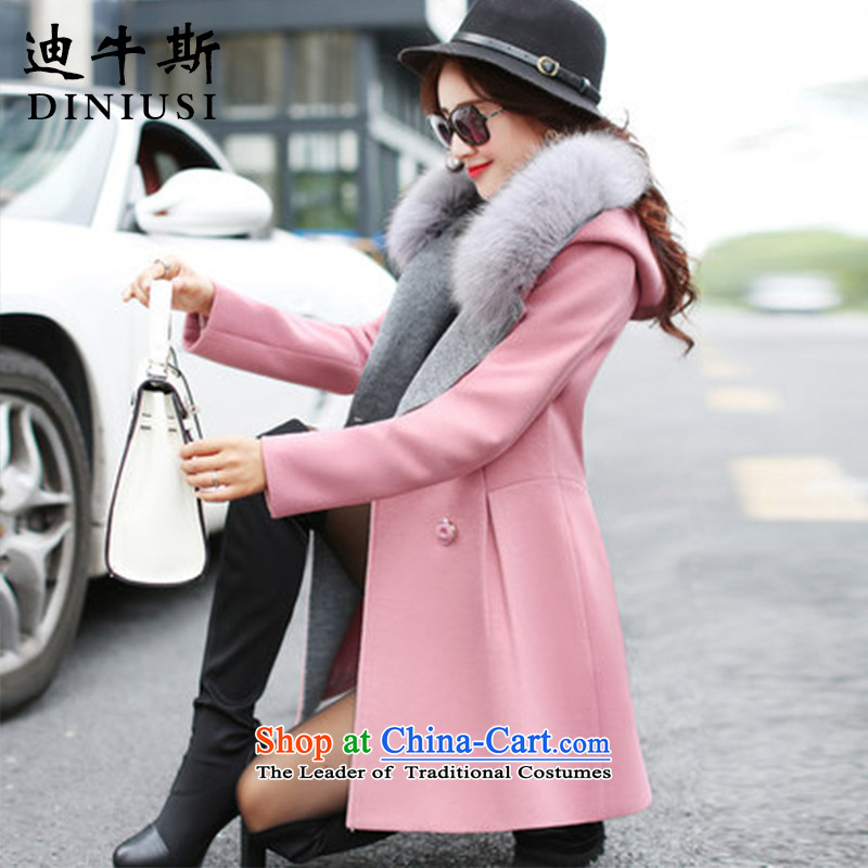 The achievement of the 2015 autumn and winter new women's gross in long jacket?_ gross collar cap a wool coat pink燤