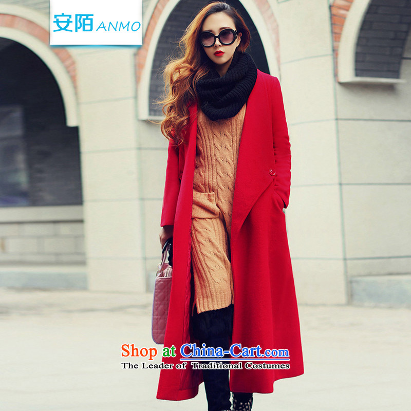 In the 2015 winter clothing new ANMO) won the knee gross is version jacket female a wool coat in the Sau San long coats gross? Even lap 9051 Red S