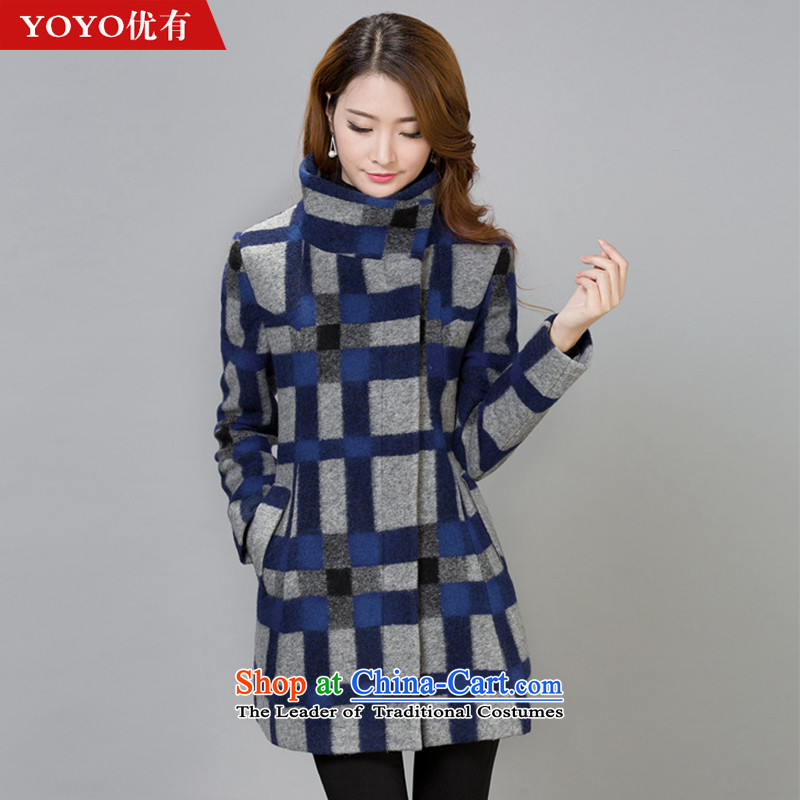 The YOYO optimization with 2015 winter clothing new stylish and elegant gross?   jacket female V1735 latticed picture color燣