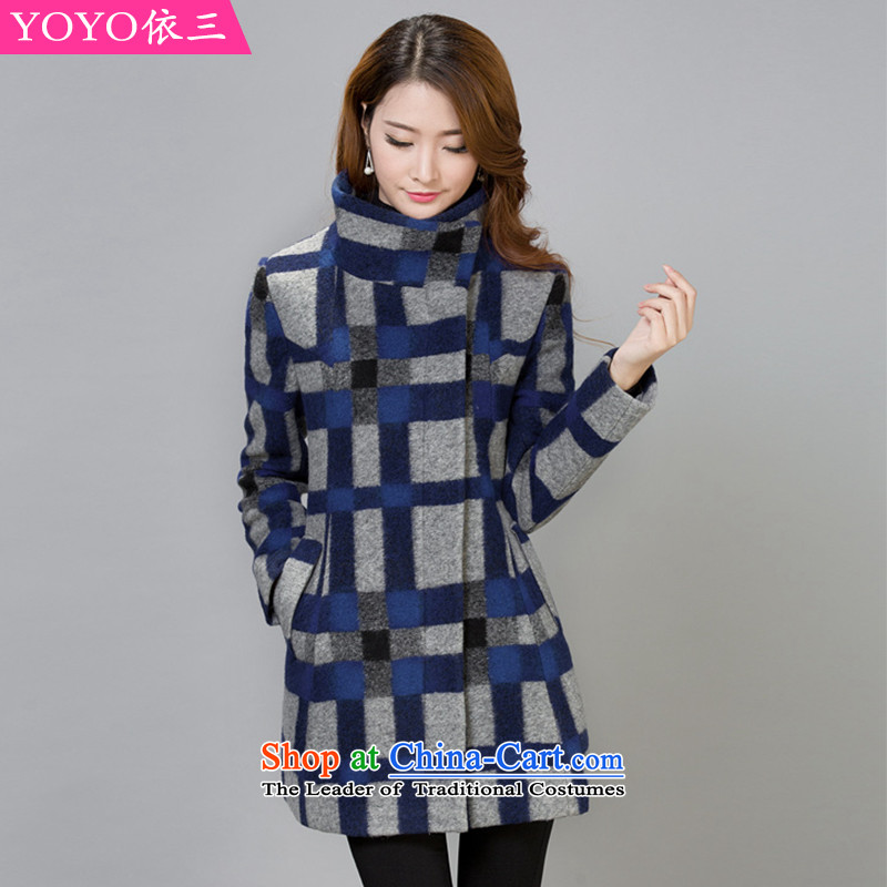 The YOYO optimization with 2015 winter clothing new stylish and elegant gross?   jacket female V1735 latticed picture color?XXL